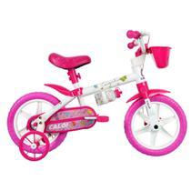 Bicicleta ARO 12 - Cecizinha - Rosa e Branca - Caloi -