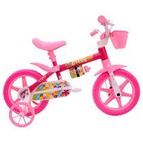 Bicicleta aro 12 feminina lily com cesta e rodinha 110581 cairu / rosa - Jbsystem