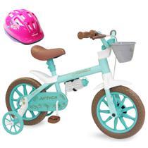 Bicicleta Aro 12 Infantil Feminina Antonella Verde Acqua com Capacete - Nathor