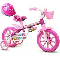 Bicicleta Aro 12 Infantil Feminina Assento Macio Flower Com Capacete Nathor -