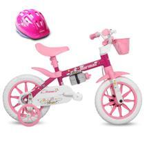 Bicicleta Aro 12 Infantil Feminina Penélope Mormaii com Capacete -