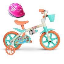 Bicicleta Aro 12 Infantil Feminina Sea com Capacete Nathor -