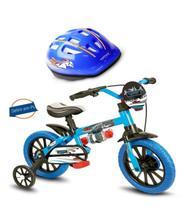 Bicicleta aro 12 Veloz com Capacete Azul Nathor -