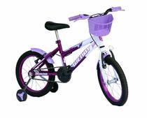 Bicicleta aro 16 fem wendy com roda al e acessorios na cor viol -