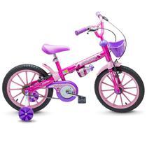 Bicicleta ARO 16 Infantil TOP GIRLS Feminina Bike Rosa e Roxa Brinquedo Esporte Presente Criança Menina Aniversário - Nathor