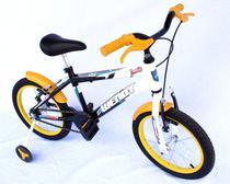 Bicicleta aro 16 masc wendy cor preta com roda al e acessorios na cor amarelo -