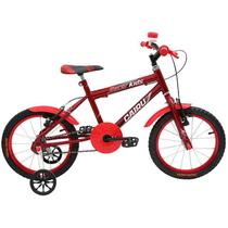 Bicicleta aro 16 masculina racer kids copm cesta e rodinha 310018 cairu / vermelha - Jbsystem