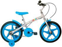 Bicicleta Aro 16 Rock Prata Com Azul Verden -