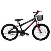 Bicicleta aro 20 bella feminina com cesta rosa/preto cairu - Jbsystem