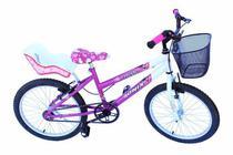 Bicicleta aro 20 fem onix cor pink com cadeirinha -