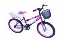 Bicicleta aro 20 fem onix cor viol/pink com cadeirinha -
