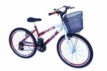 Bicicleta aro 24 fem com aro aero verm - Onix