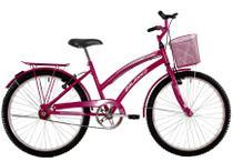 Bicicleta Aro 24 Feminina Susi Rosa Pink Com Para-lama e Cesta - Dalannio Bike