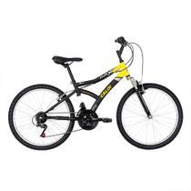 Bicicleta Aro 24  Max Front Preta e Amarela - Caloi -