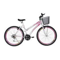 """Bicicleta Aro 26"""" 18M Musa Rosa e Branco Athor -"""