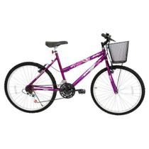 Bicicleta Aro 26 21 Marchas Feminino com Cesta Bella Cairu -