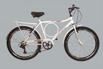 Bicicleta aro 26 barra b circle 6 marchas branca - New Bike