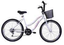 Bicicleta Aro 26 Feminina Beach 18 Marchas Branca - Dal'Annio Bike