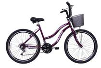 Bicicleta Aro 26 Feminina Beach 18 Marchas Violeta - Dalannio Bike