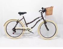 Bicicleta Aro 26 Feminina Retro Liss - 6 Marcha - Cesta Vime -