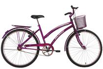 Bicicleta Aro 26 Feminina Susi Roxa com Para-lama e Cesta - Dalannio Bike - Dal'Annio Bike