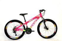 Bicicleta Aro 26 Freio a Disco 21 Velocidades Cambios Shimano Rosa/Verde Viking -