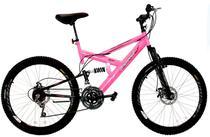 Bicicleta Aro 26 Full-S Dupla Suspensão Max 260 Freio a Disco Rosa Pink - Dalannio Bike