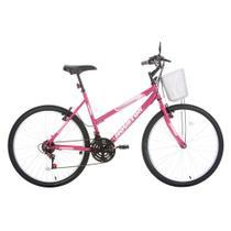 Bicicleta Aro 26 Houston Foxer Maori Com Cesta 21 Marchas Rosa Pink -
