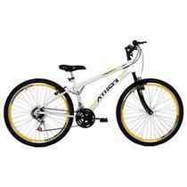 Bicicleta aro 26 mtb 18/m jet adventure rebaixada 18v - branca/amarelo - athor -