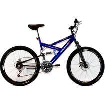 Bicicleta Aro 26 MTB 18V Full Suspention Duplo Freio a Disco Max 260 Azul - Dalannio Bike