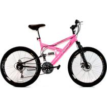 Bicicleta Aro 26 MTB 18V Full Suspention Duplo Freio a Disco Max 260 Pink - Dalannio Bike