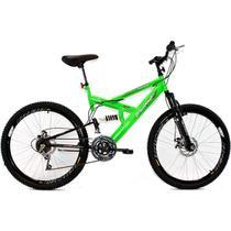 Bicicleta Aro 26 MTB 18V Full Suspention Duplo Freio a Disco Max 260 Verde - Dalannio Bike