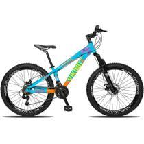 Bicicleta Aro 26 Quadro 13 Freio Disco Vmaxx Freeride Tuff 21v Alumínio Azul Laranja - Viking -