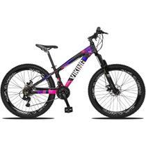 Bicicleta Aro 26 Quadro 13 Freio Disco Vmaxx Freeride Tuff 21v Alumínio Preto Rosa - Viking -
