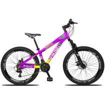 Bicicleta Aro 26 Quadro 13 Freio Disco Vmaxx Freeride Tuff 21v Alumínio Rosa Amarelo - Viking -
