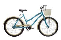 Bicicleta aro 26 Retrô Beach feminina azul sem marchas - New Bike
