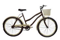 Bicicleta aro 26 Retrô beach feminina café com creme sem marchas - New Bike