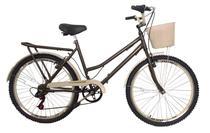Bicicleta aro 26 Retrô classic new bike 6 marchas café -
