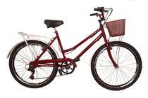 Bicicleta aro 26 Retrô classic new bike 6 marchas vermelha -