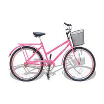 Bicicleta Aro 26 Wendy Modelo Poti  Com Cesta Rosa -