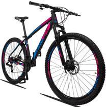 Bicicleta Aro 29 21V Shimano Dropp Z3 Tam 15 Suspensão preto, azul e rosa + Lubrificante Cera 120 ml -