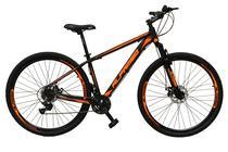Bicicleta aro 29 Alfameq Atx Alumínio 21 Marchas Câmbios Shimano Freio a Disco Preto/Laranja Tam.17 -