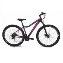 Bicicleta aro 29 Alfameq Pandora Feminina 24v Alumínio Freio a Disco Garfo Suspensão Preta com Rosa Tam.15 - Ksw
