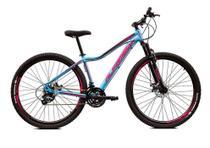 Bicicleta Aro 29 Alfameq Pandora Feminina Alumínio 21v Freio a Disco Hidráulico Azul/Rosa Tam. 15 -
