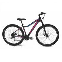 Bicicleta Aro 29 Alfameq Pandora Feminina Alumínio 21v Freio a Disco Hidráulico Preta/Rosa Tam. 15 -