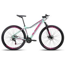 Bicicleta Aro 29 Alfameq Pandora Feminina Alumínio 21v Freio A Disco Verde com Rosa Tamanho 17 -