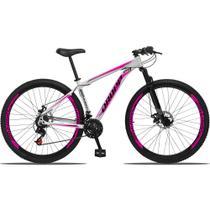 """Bicicleta Aro 29 Alumínio 21 marchas quadro 17"""" Freio a disco com suspensão Branco/Rosa - Dropp -"""