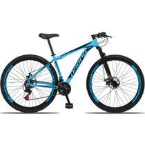 """Bicicleta Aro 29 Alumínio 21 marchas quadro 19"""" Freio a disco com suspensão Azul/Preto - Dropp -"""