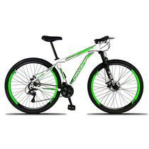 Bicicleta Aro 29 Alumínio 21v Tam 21 Freio Disco Branco Verde Dropp -