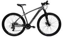 Bicicleta aro 29 alumínio lotus mecânico 21v cinz/pto tamanho 17.5 -